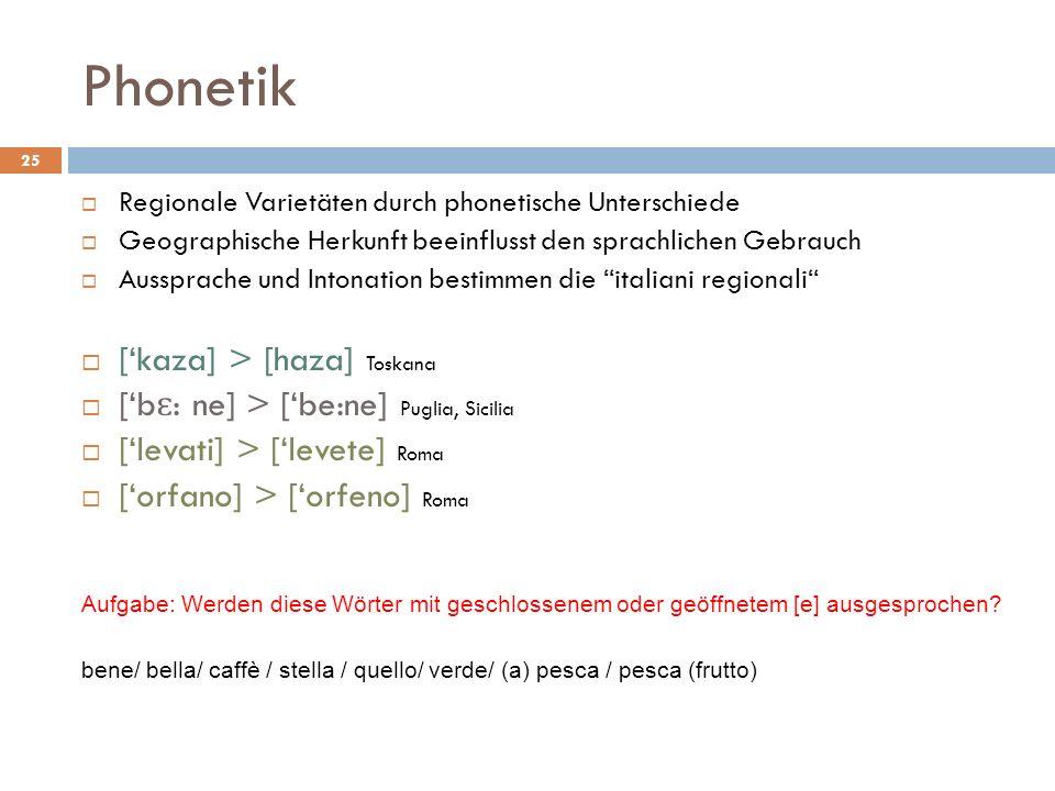 Phonetik ['kaza] > [haza] Toskana